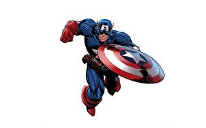 Обои Капитан Америка герой Щит Белый фон Фэнтези