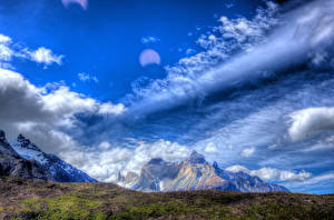 Фотография Чили Горы Небо Мох Облака HDR Patagonia Природа