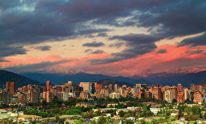Обои Чили Сантьяго Здания Горы Облака Города