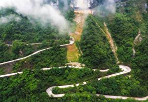 Обои Китай Дороги Леса Горы Tianmen Mountain