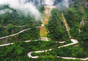 Обои Китай Дороги Леса Горы Tianmen Mountain Природа