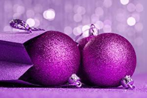Картинка Рождество Шарики Фиолетовый Вдвоем