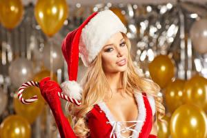 Картинка Рождество Блондинка Шапки