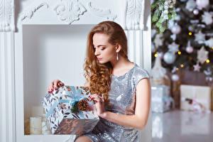 Картинки Новый год Шатенка Подарки Платье Шишки Девушки
