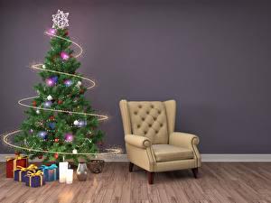 Фотографии Рождество Новогодняя ёлка Кресло Подарки Шар Электрическая гирлянда 3D Графика