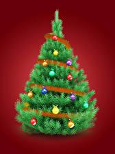 Обои Рождество Новогодняя ёлка Шар Красный фон