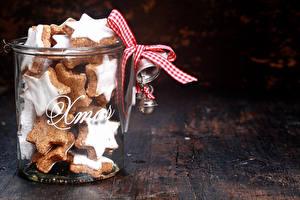 Фотографии Новый год Печенье Банка Бантик Продукты питания