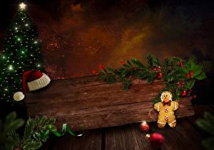 Фотография Рождество Печенье Доски Шапки Новогодняя ёлка Ветки