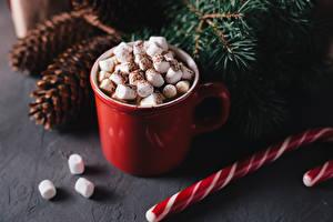 Фото Рождество Напитки Чашка Зефирки Пища