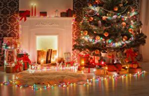 Обои Рождество Электрическая гирлянда Новогодняя ёлка Подарки