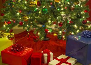 Фотография Рождество Праздники Новогодняя ёлка Подарки Шар