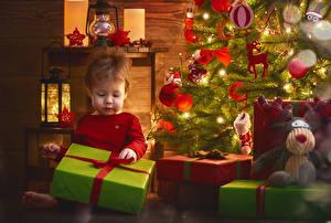 Фотографии Рождество Праздники Подарки Девочки Новогодняя ёлка Ребёнок