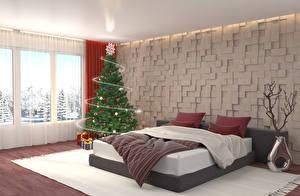 Картинки Новый год Праздники Интерьер Дизайн Спальня Кровать Елка 3D Графика