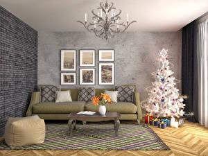Картинка Новый год Праздники Интерьер Дизайн Елка Диван Подарки Люстра Ковер 3D Графика