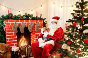 Фото Рождество Праздники Санта-Клаус Сидящие Новогодняя ёлка Шар Шапки
