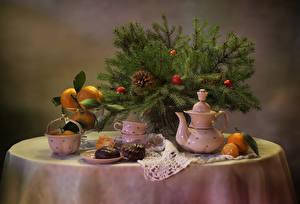 Фотография Рождество Праздники Натюрморт Чайник Зефир Шоколад Мандарины На ветке Чашка Шишки Пища