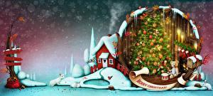 Картинка Новый год Дома Мишки Кролики Новогодняя ёлка Подарки Инглийские Снежинки