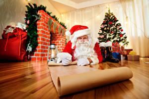 Фото Рождество Керосиновая лампа Санта-Клаус Шапка Новогодняя ёлка Бумаге