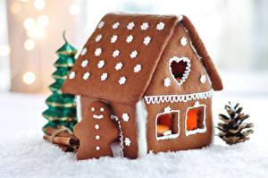 Картинки Рождество Выпечка Здания Печенье Дизайн Продукты питания