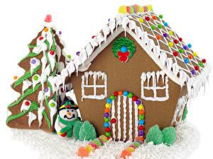 Обои Рождество Выпечка Дома Мармелад Сладости Дизайн Ель Снеговики Пища