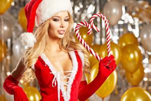 Картинка Рождество Сладости Блондинка Шапки Сердечко Перчатки Девушки