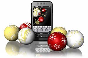 Фотографии Рождество Телефон Смартфон Белый фон Шар 3D Графика