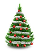 Картинки Рождество Белый фон Елка Шар 3D Графика