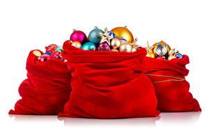 Фотография Рождество Белый фон Подарки Шарики Трое 3
