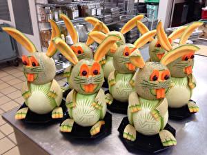 Обои Оригинальные Арбузы Дыни Кролики Дизайн Пища