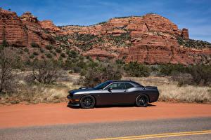 Фотография Dodge Серый Сбоку 2015-16 Challenger 392 HEMI Scat Pack  Shaker Автомобили