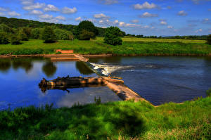 Фото Англия Речка Трава Ribbleton Preston Природа