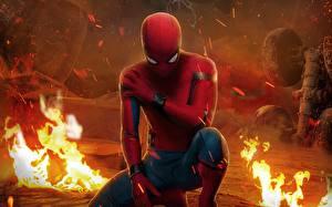 Обои для рабочего стола Пламя Человек паук герой Человек-паук: Возвращение домой Фильмы