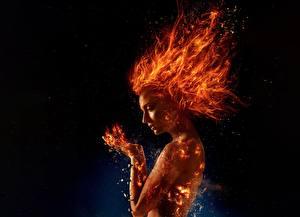 Картинка Пламя X-Men: Dark Phoenix 2018, Sophie turner Кино Девушки Знаменитости