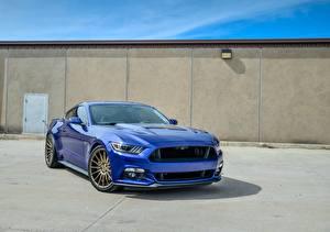 Обои Ford Синий mustang Автомобили картинки