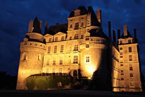 Фотографии Франция Замки Ночные Chateau de Brissac