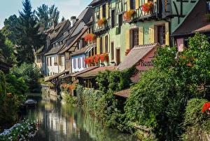 Обои Франция Дома Водный канал Colmar Alsace Города картинки