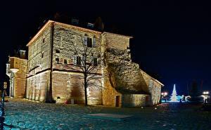 Картинка Франция Дома Ночь Деревья Honfleur