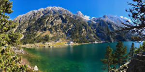 Картинки Франция Горы Озеро Gaube Lake Природа