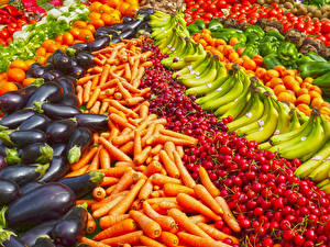 Фотографии Фрукты Овощи Много Морковь Бананы Черешня Баклажан Еда