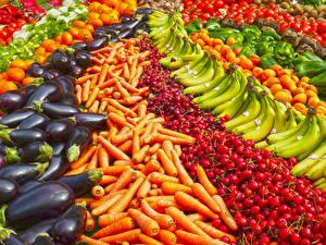 Фотографии Фрукты Овощи Много Морковь Бананы Черешня Баклажан