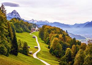 Картинки Германия Осень Дороги Бавария Альпы Деревья Garmisch-Partenkirchen