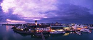 Фото Германия Дома Реки Пристань Вечер Речные суда Friedrichshafen Города