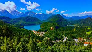 Картинка Германия Пейзаж Горы Речка Леса Бавария Schwangau