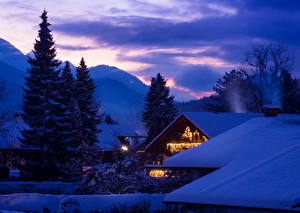 Картинка Германия Зима Здания Бавария Снег Ночные Ель Garmisch Города