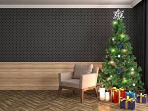 Картинки Праздники Рождество Интерьер Свечи Новогодняя ёлка Подарки Кресло Электрическая гирлянда 3D Графика