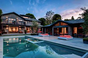 Картинки Дома Вилла Дизайн Бассейны