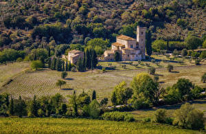 Фотография Италия Тоскана Храмы Поля Деревья Abbey of Sant Antimo