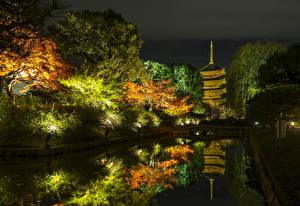 Фото Япония Киото Осенние Парки Пруд Деревья Ночные Уличные фонари