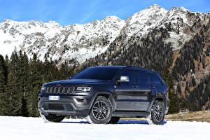 Картинка Джип Синий 2016 Grand Cherokee Trailhawk Worldwide Автомобили