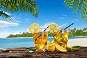 Фотографии Лимоны Лимонад Напитки Стакан Две